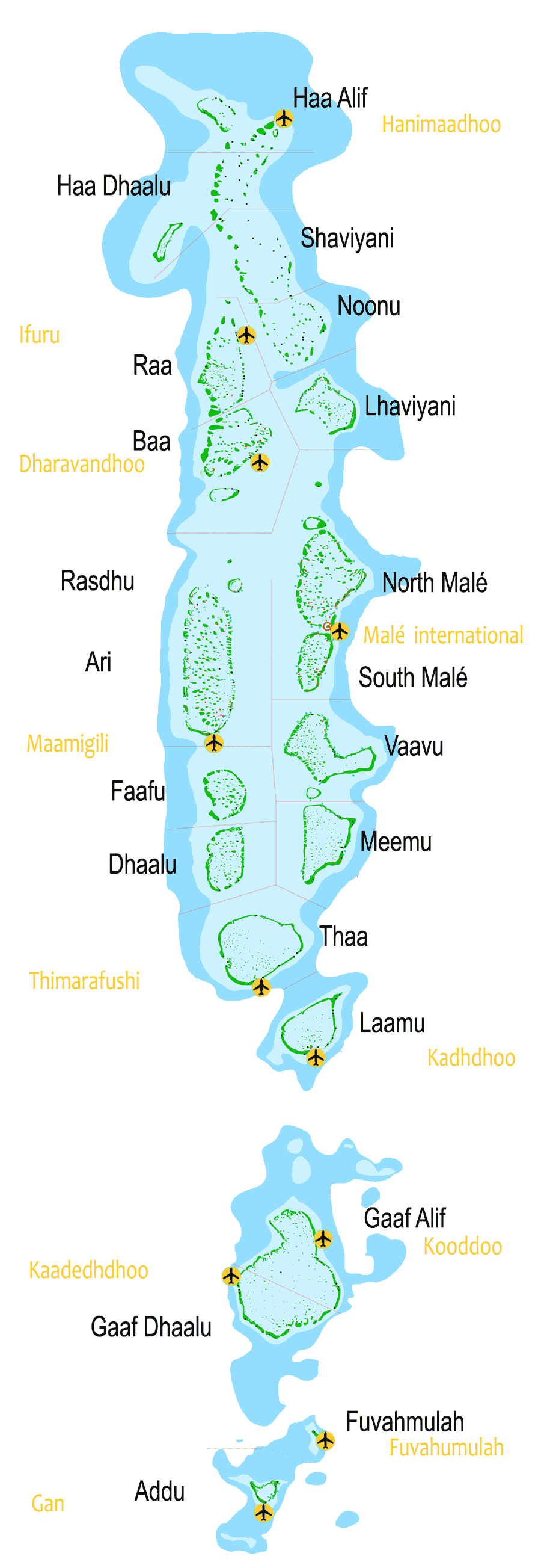 Maldives All Atolls And Airports Big